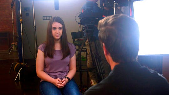 In this August 2019 photo provided by ABC News, Payton Leutner, left, is interviewed by ABC's David Muir.