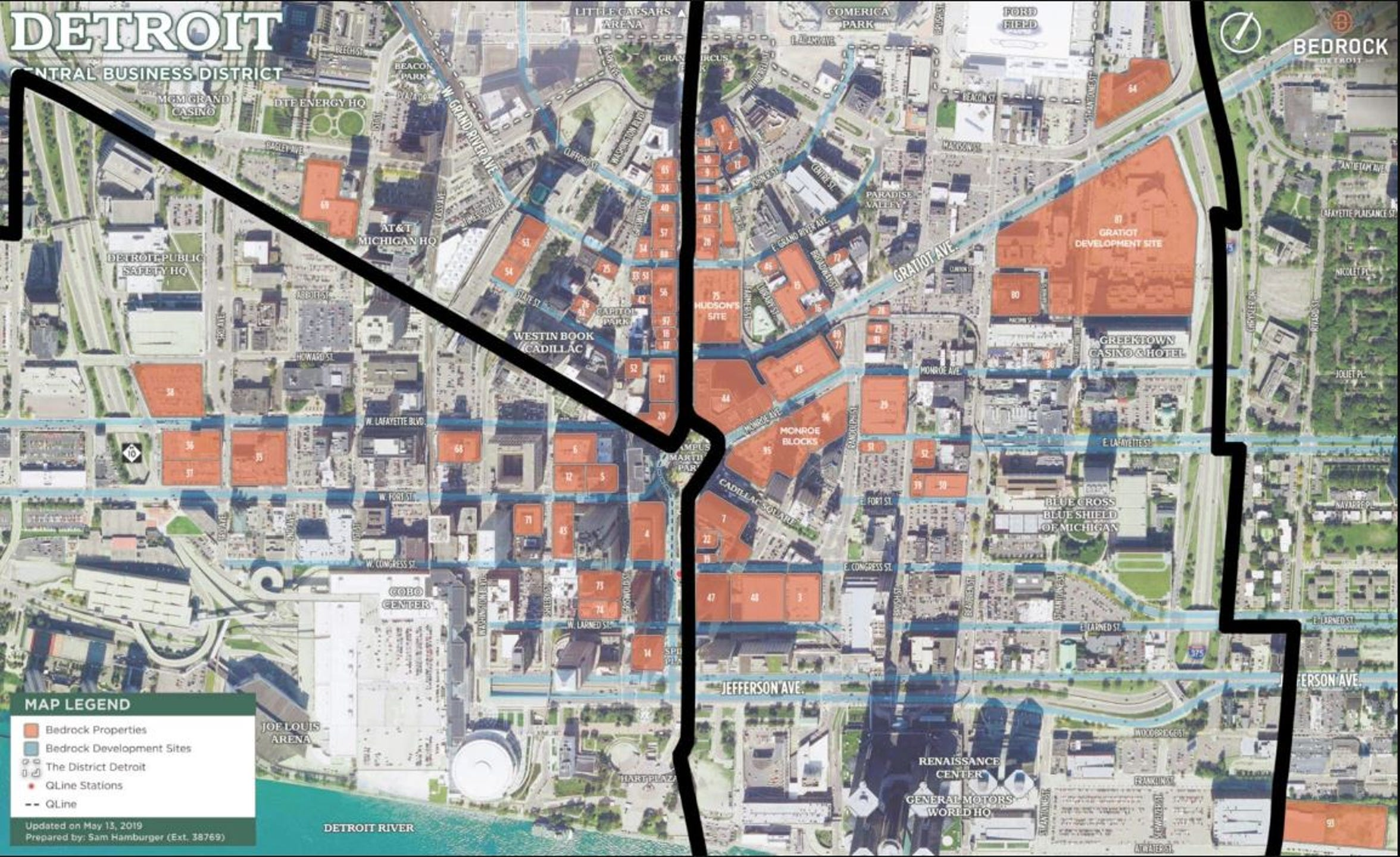 A Bedrock Detroit map shows properties owned by Dan Gilbert in orange, part of an estimated $3 billion in real estate investments he's made in the city. The lower left census tract was named an opportunity zone despite being too wealthy to qualify for the program. (Black lines added by ProPublica to roughly show tract boundaries.)