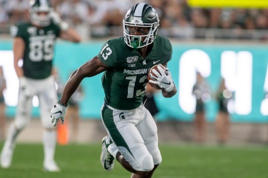 Michigan State wide receiver Laress Nelson has just one catch for 25 yards, and one carry for five yards this season.