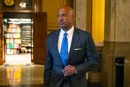 Indiana Attorney General Curtis Hill arrives for a hearing at the state Supreme Court in the Statehouse, Wednesday, Oct. 23, 2019, in Indianapolis. Hill faces a hearing over whether allegations that he drunkenly groped four women at a bar amounted to professional misconduct.