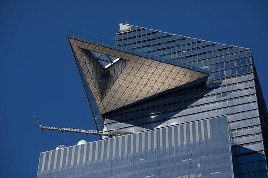 "The triangular-shaped ""Edge"" observation deck is perched 1100 feet (335 meters) on top of 20 Hudson Yards, Thursday, Oct. 24, 2019 in New York."