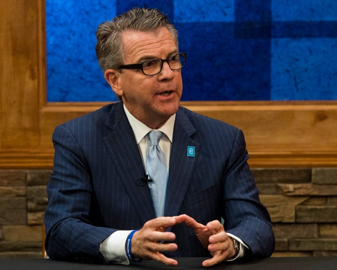 Mayoral candidate incumbent Lloyd Winnecke (R) addresses questions during a debate at WNIN studios Thursday afternoon, Oct. 24, 2019.