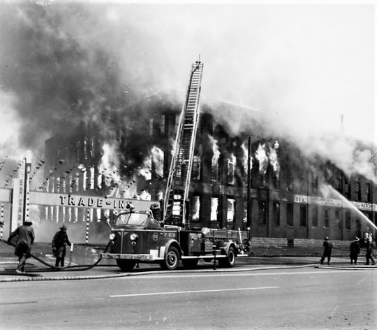 A 1963 fire on East State Street destroyed the former Henkel-Clauss Cutlery building.