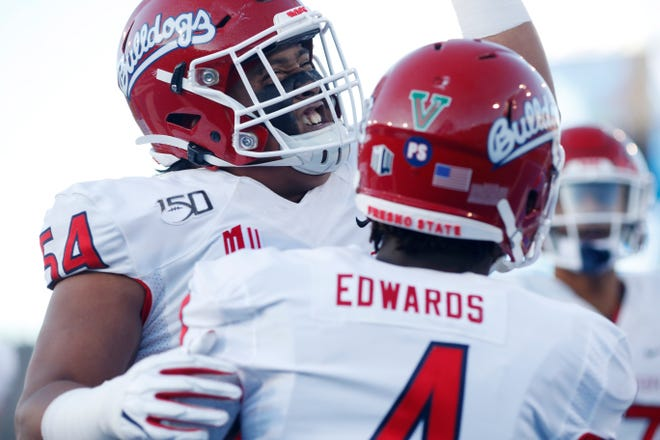 Fresno State has a 'V' on the back of all of its football helmets.