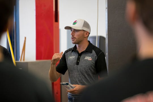 NASCAR driver Ross Chastain speaks to students in the automotive technology class at South Fort Myers High School on Tuesday, October 22, 2019.