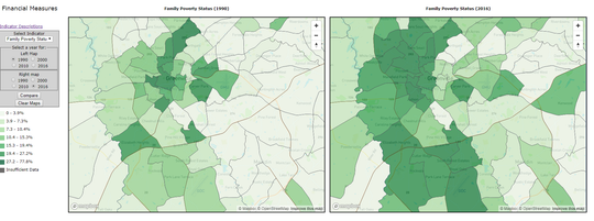 These comparison maps published Thursday, Oct. 24, 2019, as part of a United Way/Furman University study about gentrification in the Greenville area shows where poverty rates have increased between 1990 (to the left) and 2016 (to the right). Darker shades of green show where family poverty rates are highest.