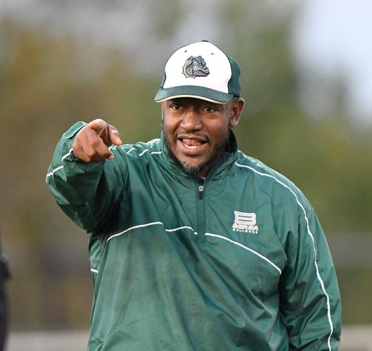 Berea head coach Julius Prince Friday, October 12, 2018, at Greer's Dooley Field.