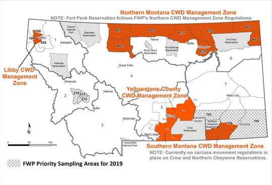 CWD Management Zones in Montana