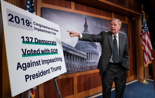 "Republican Sen. Lindsey Graham of South Carolina says the Democratic-controlled House for pursuing a ""closed door, illegitimate impeachment inquiry,"" during a news conference Thursday at the Capitol in Washington."