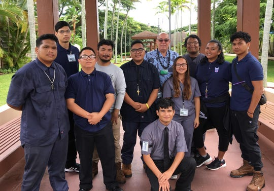 Guam Department of Labor Director David Dell'Isola visited Guam students at the Hawaii Job Corps on Oahu From left: Isaiah Wong, automotive; Andrew Howell, security; David Borja, security; Kobe Blas, landscaping; James Borja, landscaping; Anthony Meno, office administration; Dell'Isola; Kaila Chargalauf, health occupations; Albrite Cruz health occupations; Lainey Merep, health occupations; and Joseph Ytelug, building technologies.