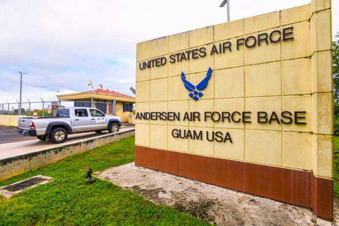 A truck enters a secondary gate leading into a section of Andersen Air Force Base in Yigo on Thursday, Oct. 26, 2019.