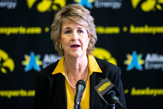 Iowa head coach Lisa Bluder talks with reporters during Hawkeyes women's basketball media day, Thursday, Oct., 24, 2019, at Carver-Hawkeye Arena in Iowa City, Iowa.