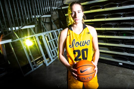 Iowa guard Kate Martin (20) poses for a photo during Hawkeyes women's basketball media day, Thursday, Oct., 24, 2019, at Carver-Hawkeye Arena in Iowa City, Iowa.