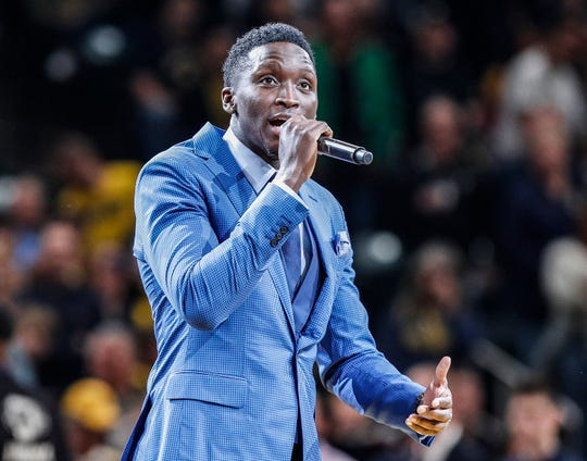 Indiana Pacers guard Victor Oladipo (4) talks to the crowd before the start of the game agains the Detroit Pistons at Bankers Life Fieldhouse, Wednesday, Oct. 23, 2019, Indianapolis. The Pistons defeated the Pacers at the their home opener, 119-110.
