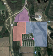 The Johnson County Board of Supervisors approved a request by C.J. Moyna & Sons, a grading contractor and site developer, to amend the land use of parcels in three adjacent areas in the Oak Crest Hill Region. The plan was amended so the area in purple was designated for intense commercial; peach for commercial and blue for conservation development. This map is approximate; not an official delineation of the parcels in question.