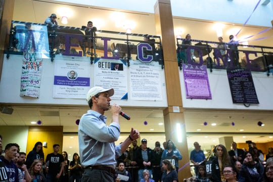Democratic presidential candidate Beto O'Rourke speaks during a town hall campaign event, Wednesday, Oct., 23, 2019, at the Orange Carpet in the Thomas Commons Building on the Cornell College campus in Mount Vernon, Iowa.