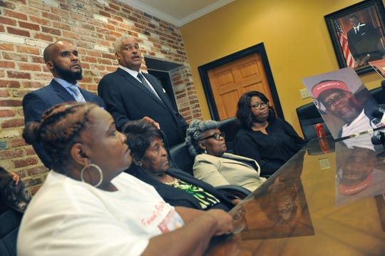 Members of George Robinson's family join Sweet and Associates in announcing a lawsuit against the city of Jackson Thursday, Oct. 24, 2019, in regard to the Jan. 15, 2019 death of George Robinson. Robinson, 62, died after a Jan. 13, 2019, encounter with three Jackson Police officers outside his Washington Addition home.
