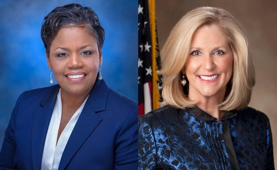 Jennifer Riley Collins (left) and Lynn Fitch will face off in the race for Mississippi Attorney General on Nov. 5.