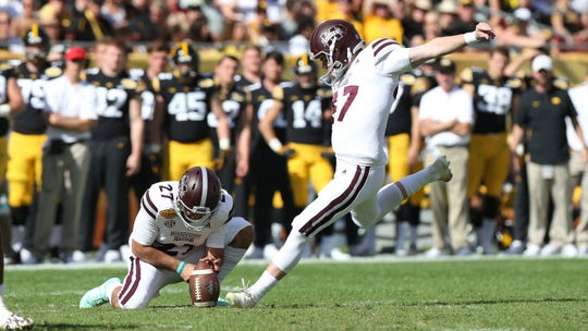 Mississippi State junior kicker Jace Christmann has made 99 of his 100 extra points and 28 of his 36 field goal attempts during his career in maroon and white.