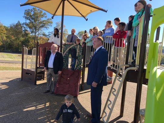 Mayor Glenn Jacobs, right, was on hand to cut the ribbon at the newly renovated I.C. King Park in South Knoxville on Thursday, Oct. 24, 2019.