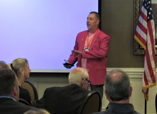 "Speaking to the Farragut Rotary on October 23, Scott Brockamp explained his fundraising campaign, ""Scott Wears Pink""."