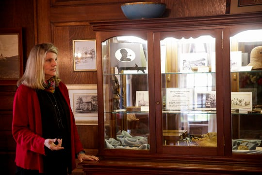 Aura Lee Emsweller, executive director, talks about  Thomas Duncan Hall inside the Thomas Duncan room, Thursday, Oct. 24, 2019 in Lafayette. The 88-year old Duncan Hall is the host and subject of a fundraiser to raise money for renovations on the building and promote the education it provides.
