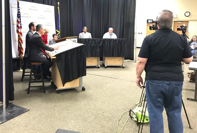 Candidates running for West Lafayette City Council at-large seats prepare for a televised debate Wednesday, Oct. 23, 2019, at the former Happy Hollow Elementary. Featured were Democrats David Sanders, James Blanco and Gerald Thomas and Republican Steve Dietrich.