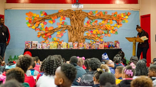 Students and faculty at J.W. Faulk Elementary celebrated the addition of 765 new books to its library with a ceremony Wednesday, Oct. 23, 2019. The books were made possible through a $10,000 donation from the Kiwanis Club of Lafayette to Love Our Schools,an educational initiative aimed at transforming public schools.