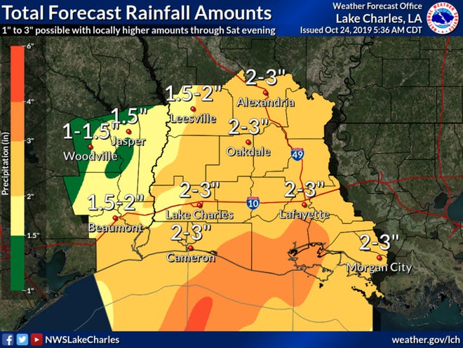 A cold front is expected to bring rain to southwest Louisiana over the weekend. In this Thursday, Oct. 24 graphic, rainfall amounts for the weekend are predicted.