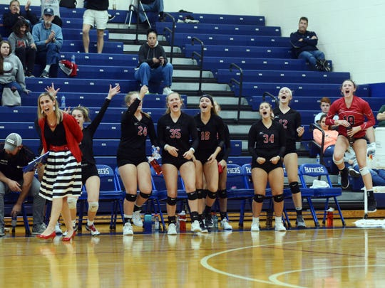 Fairfield Union's bench comes to life after winning the first set agaisnt Vinton County in a Division II district semifinal at Chillicothe Southeastern.
