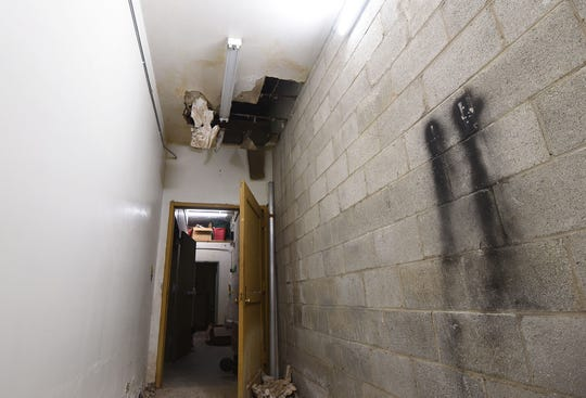 The ceiling near the rear exit of the Picture Day Photography offices and studio has been a frustration to the tenants at West Park Shopping Center.
