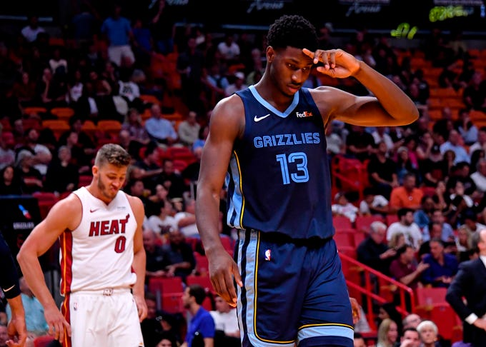 Memphis Grizzlies forward Jaren Jackson Jr. (13) reacts against the Miami Heat during the second half at American Airlines Arena.
