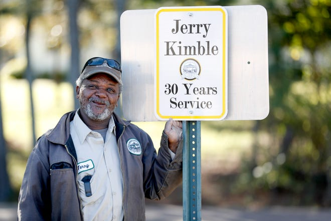 Jerry Kimble, a heavy equipment operator for the streets and drainage division of Collierville Public Services, is celebrating 30 years of service with the department. Kimble was recently honored with a personal parking spot.