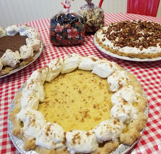 Find anywhere from 15 to 20 varieties of pies made from scratch including French silk, eggnog custard and praline pecan shown here at Stockholm Pie & General Store.