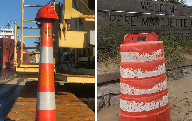 Ramon the Cone (left) and Darrel the Barrel are two traffic barriers that have brought together Milwaukee and Muskegon, Michigan.