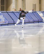 Erin Jackson trains Thursday for the US Speedskating Long Track World Cup trials at the Pettit National Ice Center.