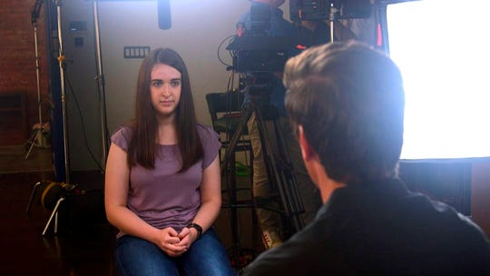 In this August photo provided by ABC News, Payton Leutner, left, is interviewed by ABC's David Muir.