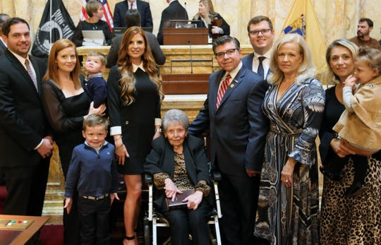Anthony M. Bucco with his family after being officially sworn in on New Jersey Senate floor to succeed his late father, Anthony R. Bucco, who died on Sept. 16. Oct. 24, 2019.