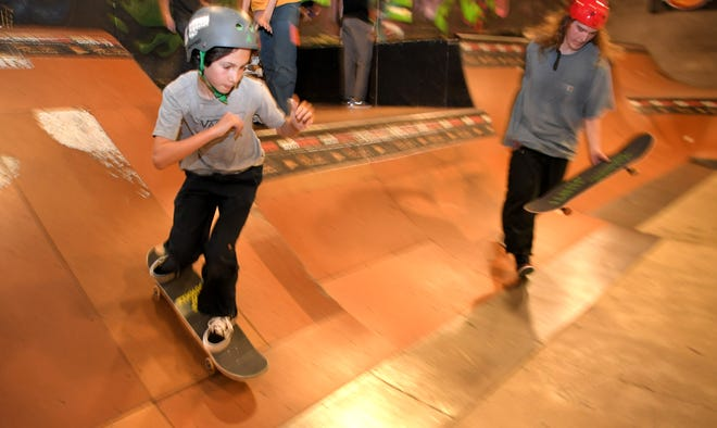 Rex Becker, 11, skates at Rocketown in Nashville on Wednesday, Oct. 23, 2019.  Rocketown is a skate park, concert venue, music studio and homework place all in one.