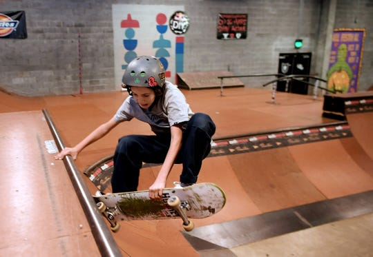 Rex Becker, 11, skates at Rocketown in Nashville on Oct. 23, 2019. Rocketown — a skate park, concert venue, music studio and homework place all in one — is celebrating 25 years after Christian music star Michael W. Smith founded it because he was concerned about teens cruising in Franklin.