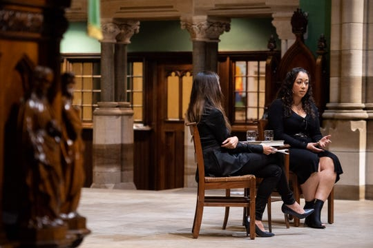 Cyntoia Brown-Long, right, speaks about her memoir with journalist Liliana Segura, left, on Wednesday.