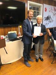 Mayor Kurt Peluso and Fuminobu Negishi Radburn's sister city Ryokuen Toshi