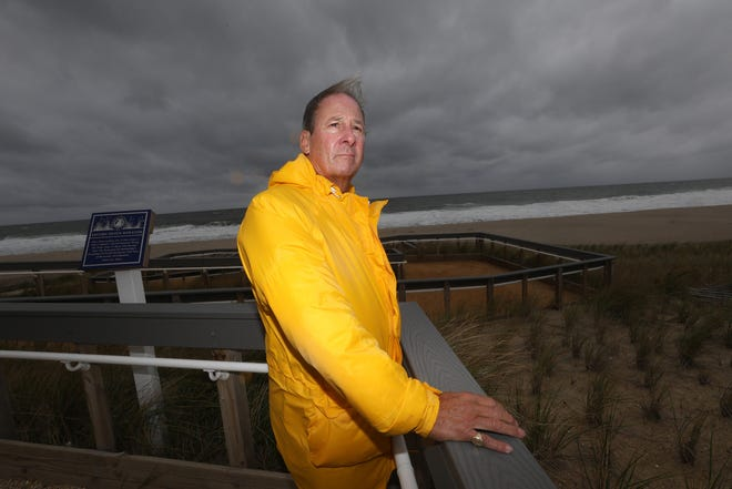 Mantoloking NJ Mayor Laurence White on a ramp that traverses a sand dune built to try and stave off possible flooding from the ocean. Mantoloking was the hardest town hit by Super Storm Sandy in 2012.