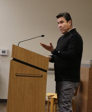 Frank Sanchez of Town Recycling in Albuquerque makes a presentation to the City of Carlsbad Recycling Committee Oct. 24.
