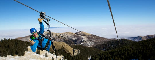 No fear here as a visitor tries out The Windrider zipline at Ski Apache