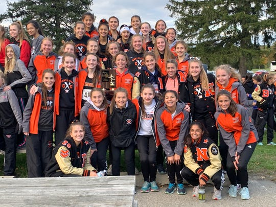 The Northville girls cross country team finishes in second place at the KLAA championship
