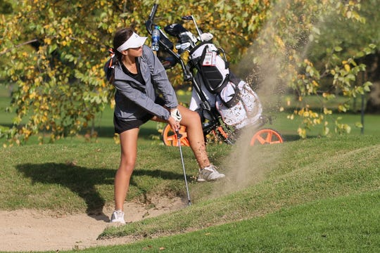Northville's Samantha Coleman gets herself out of a tricky spot during the state finals.