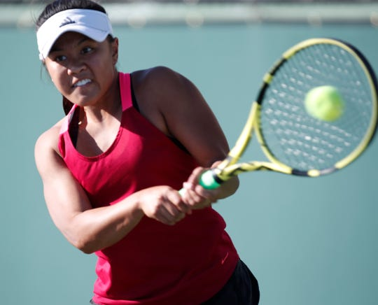 Palm Springs High School's Emunah Daffon during her DEL League finals match against  Palm Desert High School's Tenaya Moranda . Moranda won the match in two straight sets 6-4, 6-3 at Indian Wells Tennis Garden on October 24, 2019.