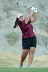 Rancho Mirage's Lehapi Taungahihifo tees off on the 17th hole of the La Quinta Resort Golf Course during the DEL individual finals in La Quinta, Calif., on October 23, 2019.