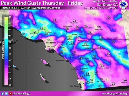 Peak wind gusts are predicted Thursday and Friday in these areas.